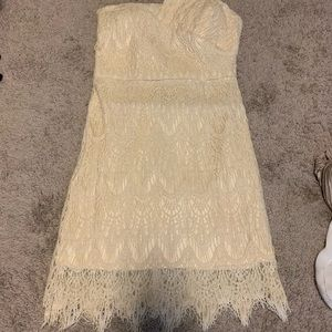 Romeo & Juliet ivory lace one shoulder dress